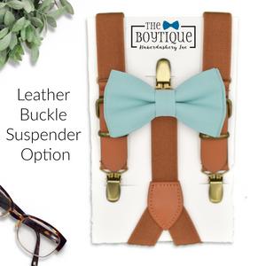 blue green bow tie and leather suspenders