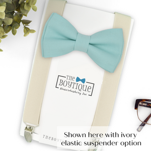 aqua bow tie and ivory suspenders