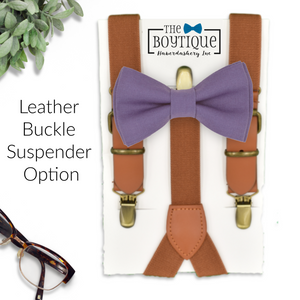 violet bowtie and leather suspsenders