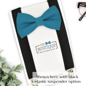 blue teal bow ties and suspenders