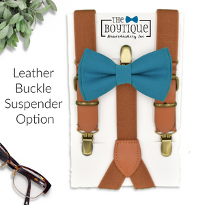 teal blue bow tie and leather supenders