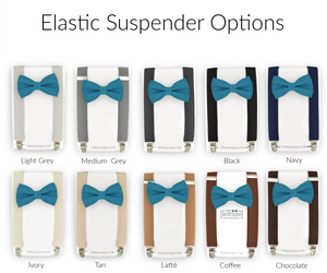 teal blue bow tie and suspenders