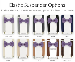 violet bow tie and suspender sets