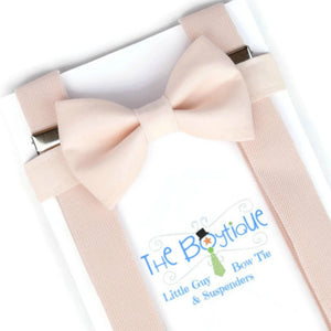 Men's Blush Bow Tie and Suspender Set