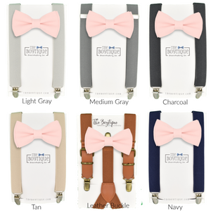 Blush Bow Tie and Blush Suspenders Set