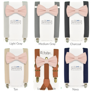 Blush and Navy Bow Tie and Suspender Set