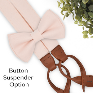 blush bow tie and button on suspenders