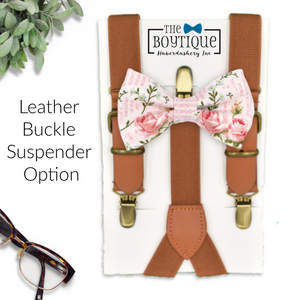 blush floral bowtie leather suspenders