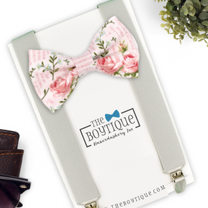 blush floral bow tie and suspender set