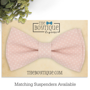 Blush Polka Dot Bow Tie