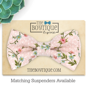 blush floral bow tie in vine