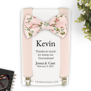 blush floral bow tie and suspenders