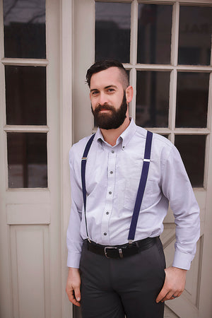 navy blue men's suspenders and boy's suspenders for weddings