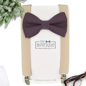 brown eggplant bow tie and suspenders