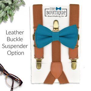 cerulean bow tie and leather suspenders