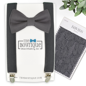 Pewter bow tie and suspenders