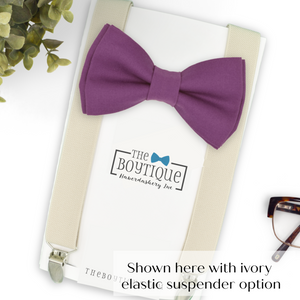 cassis bow tie and ivory suspenders