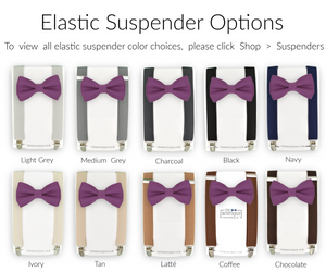 purple bow tie and suspenders sets