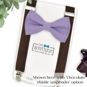 lavender bow tie and suspenders