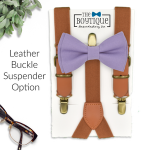 lavender bowtie and leather suspenders