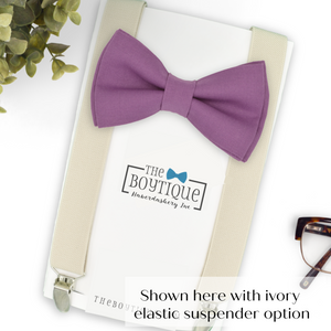 dark mauve bow tie and ivory suspenders
