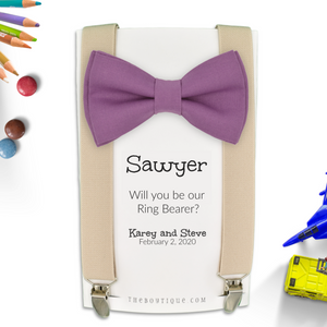 mauve bow tie ring bearer gift