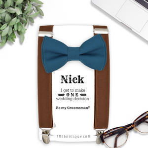 teal bowtie and suspenders
