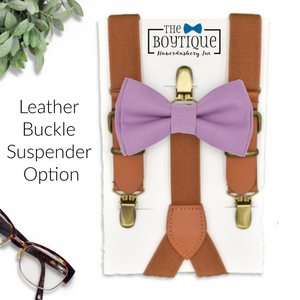 wisteria bowtie and leather suspenders