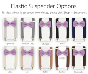 medium purple bow tie and suspender sets