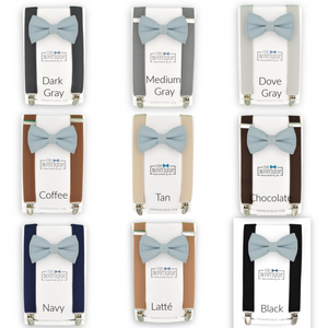 Dusty Blue Bow Tie and Suspenders