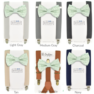 Azazie dusty shale bow tie and suspenders