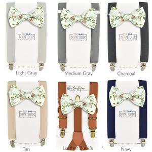 dusty sage bow ties and suspenders