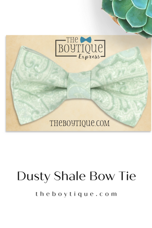 Dusty Sage Bow Tie in Paisley