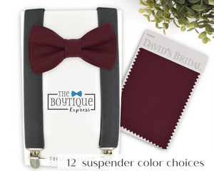 wine bow tie and charcoal suspenders