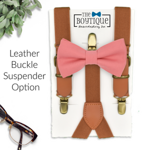 coral bow tie and leather suspenders