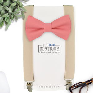 coral bow tie and suspenders
