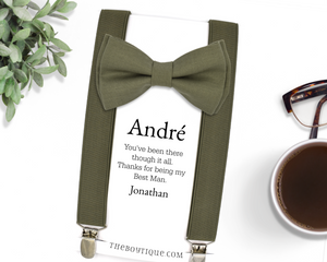 olive bow tie and suspender set