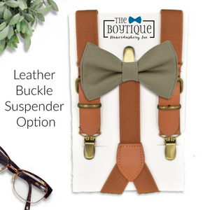 army green bow tie and rustic leather suspenders