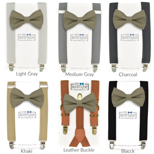 khaki wedding bow tie and suspenders set