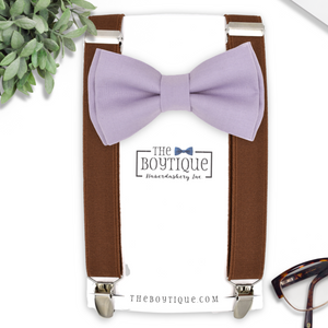 hydrangea bow tie and coffee suspenders