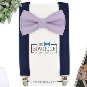 lavender bow tie and navy suspenders