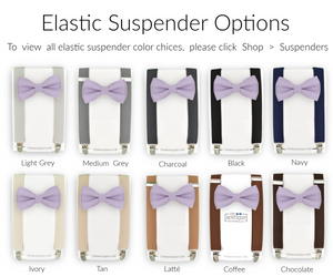 hydrangea bow tie and suspender sets