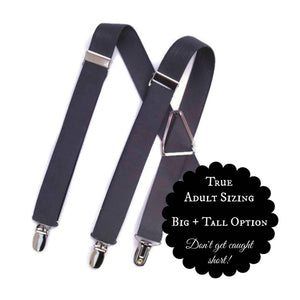Handmade Dark Grey or Charcoal suspender for Boy's and Men