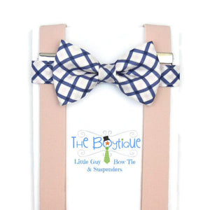 Blush and Navy Bow Tie and Suspenders