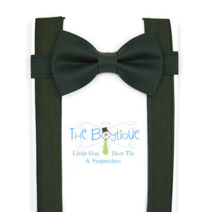 Hunter Green Bow Tie and Dark Green Suspenders