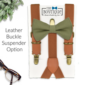 green bow tie and leather suspenders