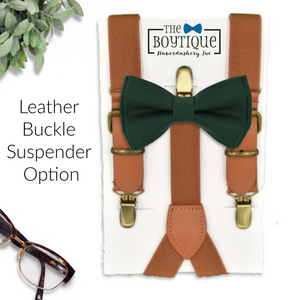 forest bow tie and rustic suspenders