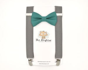 green bow tie and gray suspenders