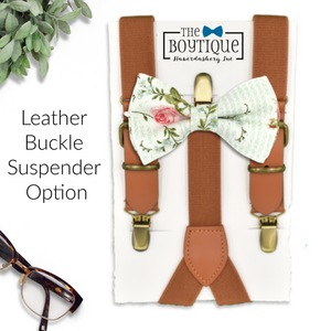 dusty sage bow tie and leather suspenders