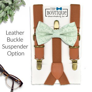dusty sage bowtie and leather suspenders